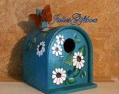 Hand Painted Teal-Turquoise Bird House Mailbox Brown Feather ButterFly-Indoor Decor-Screen House, Porch, Lanai, Florida Room