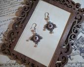 handmade victorian style earrings real looking eyeball jewelry unique unusual handmade earrings necklace earrings set brown eyeball jewelry