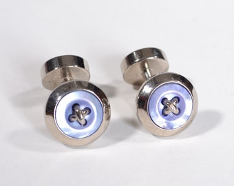 Vintage Dyed Blue Button Cufflinks - Mother of Pearl - Wedding Groom Gift