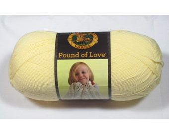 Lion Brand Pound of Love Yarn, Pastel Yellow, 16 oz