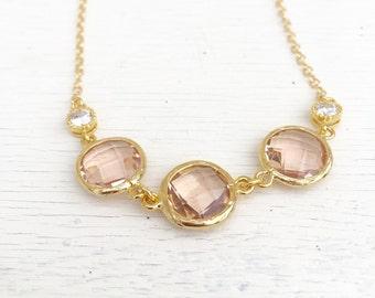 Champagne Gold Fashion Jewel Statement Necklace in Shades Champagne Gold Peach. Jewel Fashion Jewelry Bridal Party Jewelry.  Christmas Gift.