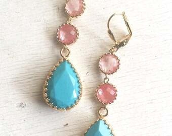 Long Jewel Earrings in Turquoise and Grapefruit Pink. Dangle Earrings.  Bridal Jewelry. Modern Fashion Earrings. Wedding. Gift.
