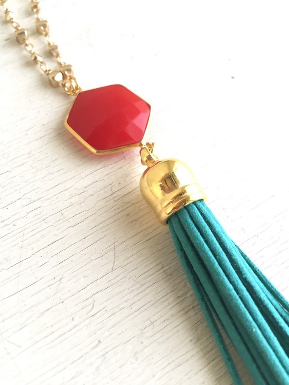 Coral and Turquoise Tassel Necklace. Long Leather Tassel Necklace. Long Gold Coral Red Tassel Necklace. Gold Tassel Necklace.  Boho Jewelry.