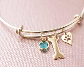 Brass Bangle with Dog Bone and Heart Shaped Paw Heart Charm with Swarovski Birthstone Crystal- Dog Lover Bangle Bracelet, Dog Bracelet