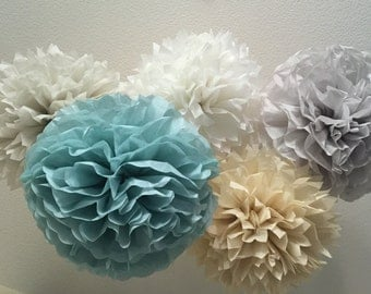 Paper Pom Poms -Set of 10- Your Color Choice -  Vintage Blue Serenity  Decorations - Barn Wedding decor - Rustic Wedding