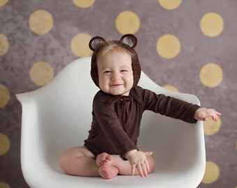 Baby Bear Bonnet, Woodland Baby, Enchanted Forest, Bear Hat, Newborn Photo Prop, Woodland Animal Hat, Baby Hat,  Baby Shower Gift