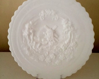 Milk Glass Windmill Plate Imperial Glass
