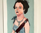 Antique painting // Queen Elizabeth II no. 1 // original art // illustration on paper // historical portrait painting