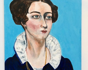 Antique painting // historical portrait painting // Portrait of a Woman, ca. 1825 // original art // 5 x 7 acrylic painting on panel