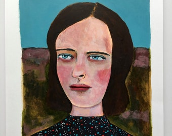 Portrait painting // Jupiter no. 100 // original painting // illustration on paper // original art // woman painting