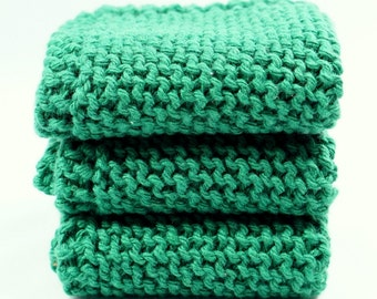 "Grandma's Favorite Dishcloth Christmas Green Kitchen Cotton Set of Three Irish Shamrock Green 7"" Wash Cloths for Cleaning"