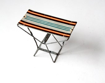 striped camp stool, vintage metal frame camping stool