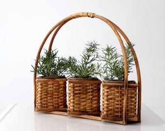 vintage planter basket, three compartment basket