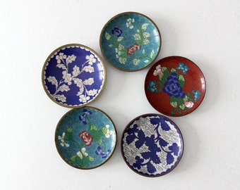 SALE antique Chinese enamel plate collection, cloisonne dishes