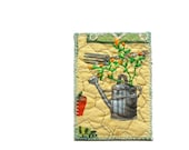 Reserved for Nancy - Watering can, ACEO original textile art, 2.5 x 3.5, spring flowers green tan, collectors item, perfect gift