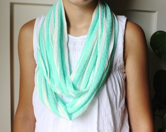Aqua Lace and White Stripe Infinity Scarf
