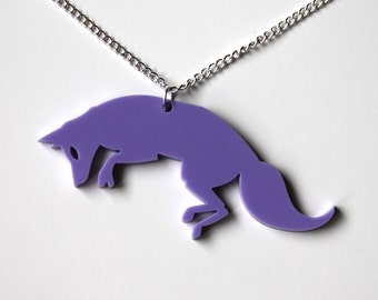 Fox lilac pendant on silver chain necklace