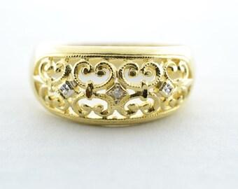Vintage 14K Yellow Gold Scroll Work Migraine Diamond Ring - Size 6.75