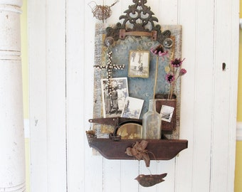 Assemblage Art Wall Organizer Magnet Board Display Shelf with Vintage Salvaged Metal, Wood, Hardware, Tin, Iron, Wire