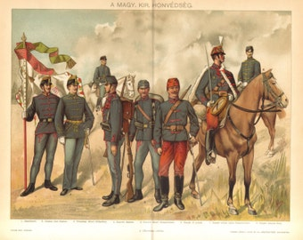1895 Military Uniforms of the Austro-Hungarian Army, Infantry and Royal Hungarian Hussars, 19th Century Original Antique Chromolithograph