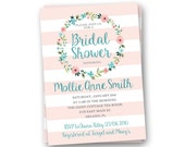 Bridal Shower Invitation, Striped Wedding Shower Invitation, Printable Bridal Shower Invitation