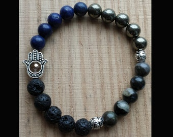 Lava Rock Diffuser Bracelet - Gemstone with Hamsa