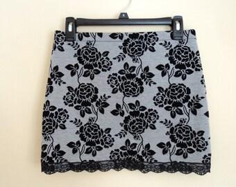 Black and grey skirt with flowers in velvet