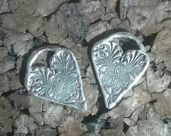 Sterling Silver Artisan Heart Charms