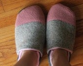 Adult Wool Slippers / Leather Soles / Warm Winter House Shoes, Waldorf Teacher Gift, Wife Gift