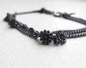 Flowers Sterling Silver - bracelet - black silver