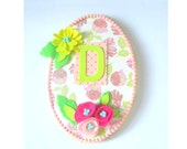 Initial Name Plaque- wall hanging - girls room- room decor-felt flowers