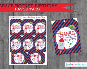 Space Rocket Birthday party printable Favor Tags!  Instant download!