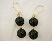 Onxy stone & Gold Earrings,Dangle carved Onyx stone earrings