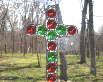LT Stained glass Cross red green suncatcher light catcher clear red and green glass marbles