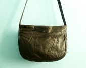 Vintage soft leather purse messenger bag / crossbody / dark brown / 1980s 80s