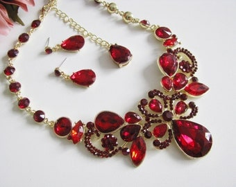 Siam Red Bridal Statement Necklace Set, Wedding Jewelry Set, Vintage Inspired Necklace, Rhinestone Necklace, Bridal Necklace
