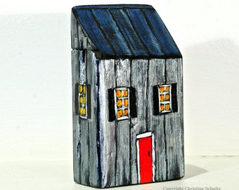 Little House Painted Silver on Reclaimed Woodblock OOAK Mississippi Folk Art