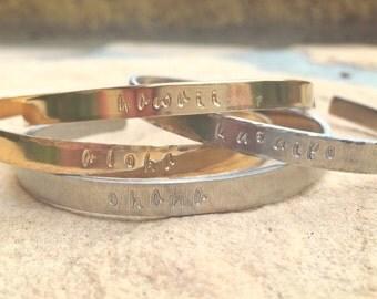 Personalized Cuffs, Hawaiian Jewelry, Aloha Bracelet, Hawaii Bracelet, Ku'uipo Bracelet, Ohana Bracelet, Skinny Cuff