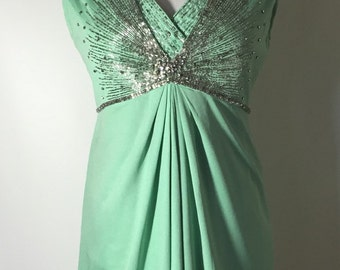 Gorgeous Mint Colored Beaded Rhinestone 60's 70's Babydoll Dress