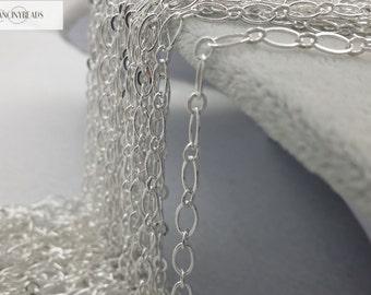 Quantity 10 meters-BulkSale-33 feet fabulous silver brass oval loop chain- -F1993