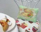 Dollshouse Miniatures. Cushion Pillow. Tea Shop, Cup and Saucer Design