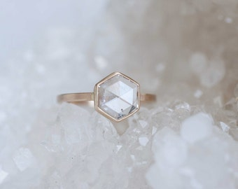 Clear Rose Cut Hexagon Diamond Engagement Ring | 14k Recycled Gold | Geometric Diamond Ring | One of a Kind