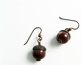 Acorn Earrings (Paint Spatter Jewelry for Fall, Autumn, Thanksgiving Woodland Harvest)