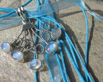 Sale, Genuine Moonstone Pendant, 925 Silver, with White Organza Cord