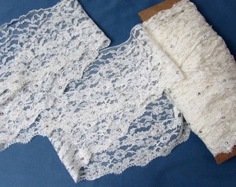 """Rhinestone studded LACE reclaimed from 1953 wedding dress - 5.5"""" wide - 10+ yards"""
