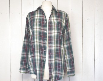 Plaid Button Up Shirt 1970s Navy Blue Green White Vintage Light Weight Shirt Jacket Medium Large