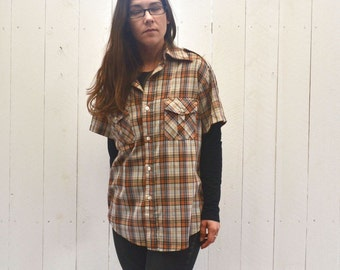 Plaid Button Up 1970s Vintage Short Sleeve Brown Orange Cream Retro Oxford Large