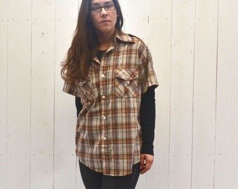 Plaid Button Up 1970s Short Sleeve Brown Orange Cream Retro Vintage Oxford Shirt Large