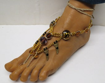 SALE Pair of Amber, gold, and purple fancy barefoot sandals made with hemp.  Beach and bellydance fashion. HFT-A207