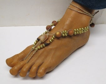 SALE Pair of Tan, brown, and gold barefoot sandals made with hemp.  Beach and bellydance fashion. HFT-A303